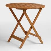 Round Natural Wood Mika Folding Dining Table