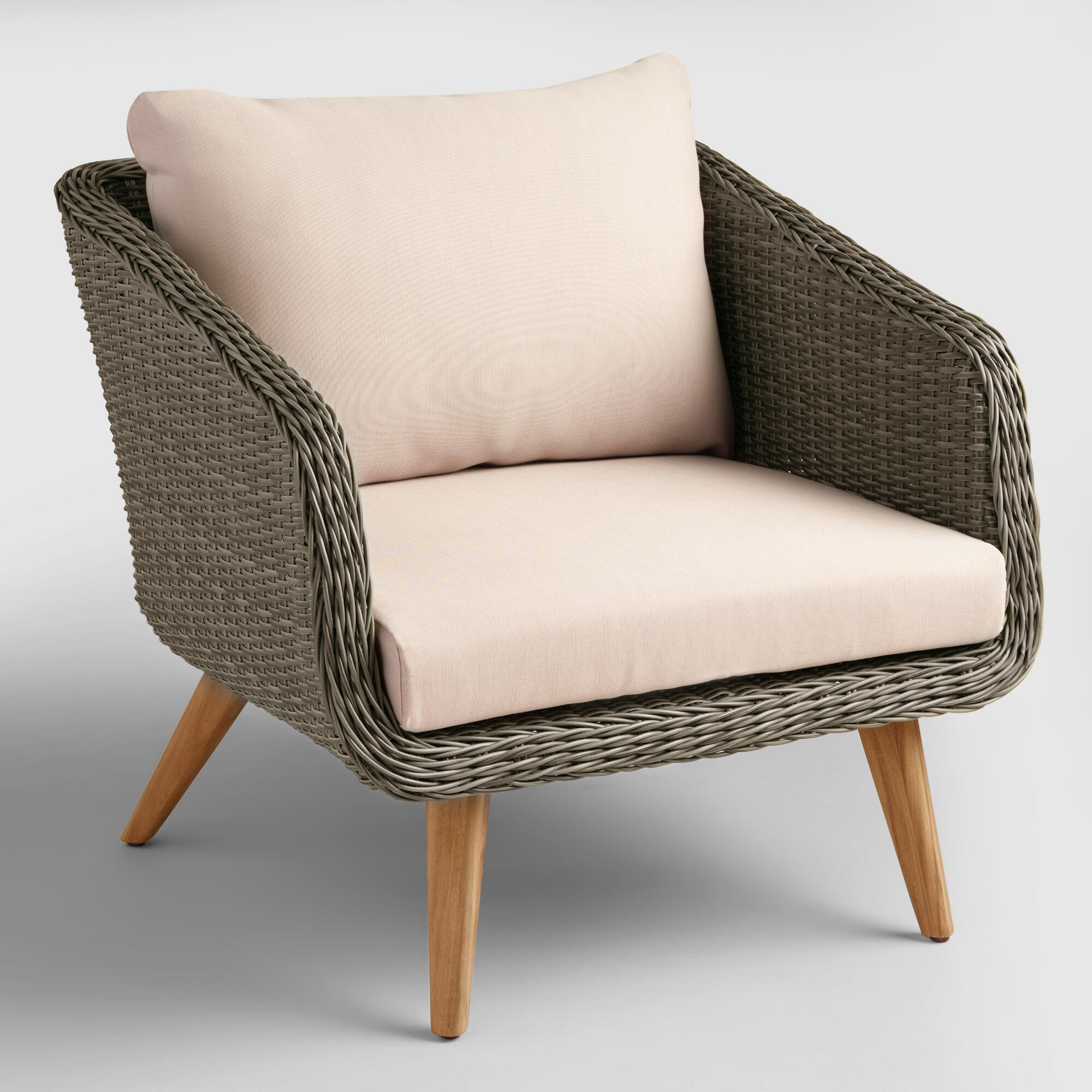 gray all weather wicker minorca chair world market. Black Bedroom Furniture Sets. Home Design Ideas