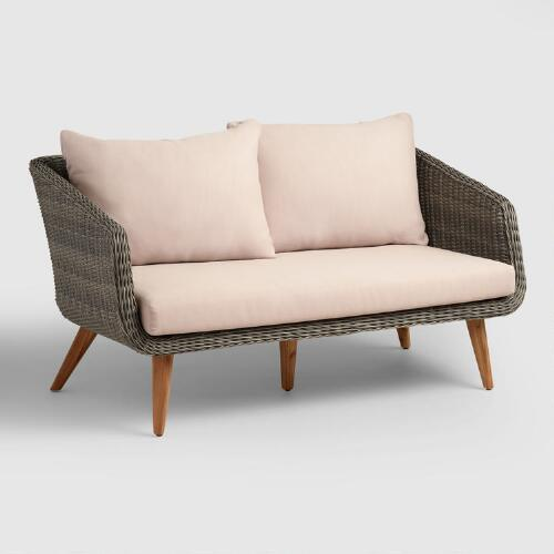 Gray All Weather Wicker Minorca Bench