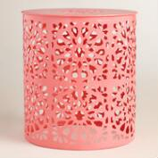 Shell Pink Metal Soleil Drum Stool