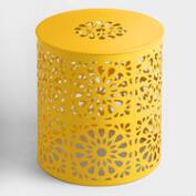 Lemon Yellow Metal Soleil Drum Stool