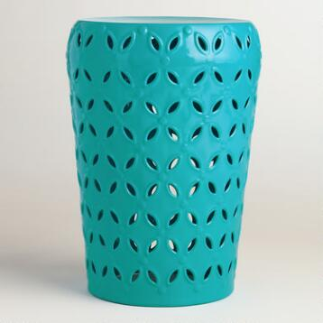 Capri Blue Punched Metal Lili Drum Stool