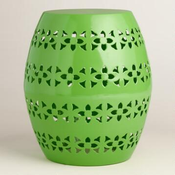 Green Floral Metal Sonia Drum Stool