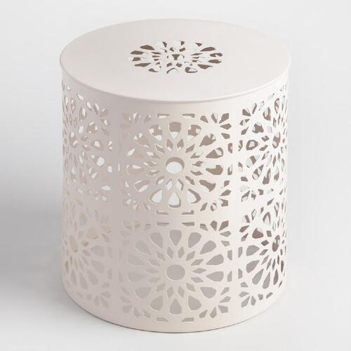 White Metal Soleil Drum Stool