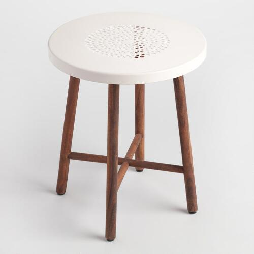 White Metal and Wood Tristan Stool