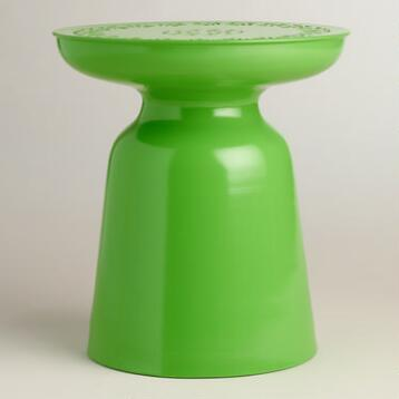 Green Punched Metal Dimitri Drum Stool
