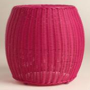 Fuchsia All Weather Wicker Carlos Stool