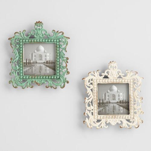 White and Aqua Magnetic Square Frames Set of 2