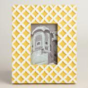 Yellow Lattice Carved Wood Frame