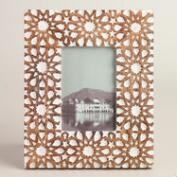 Natural and White Mosaic Carved Wood Frame