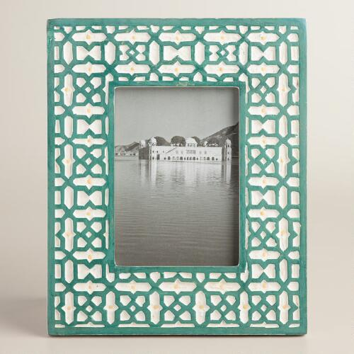 Green Mosaic Carved Wood Frame