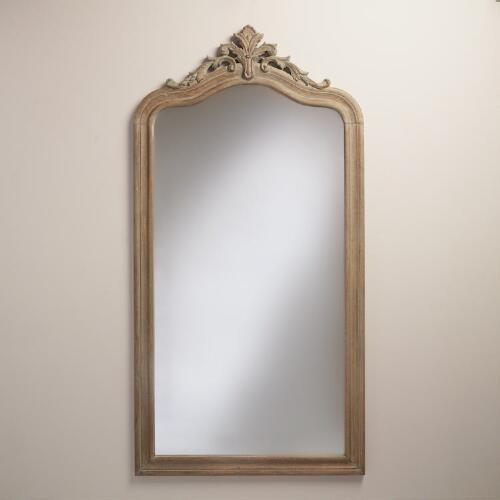 Gray Carved Wood Livia Floor Mirror
