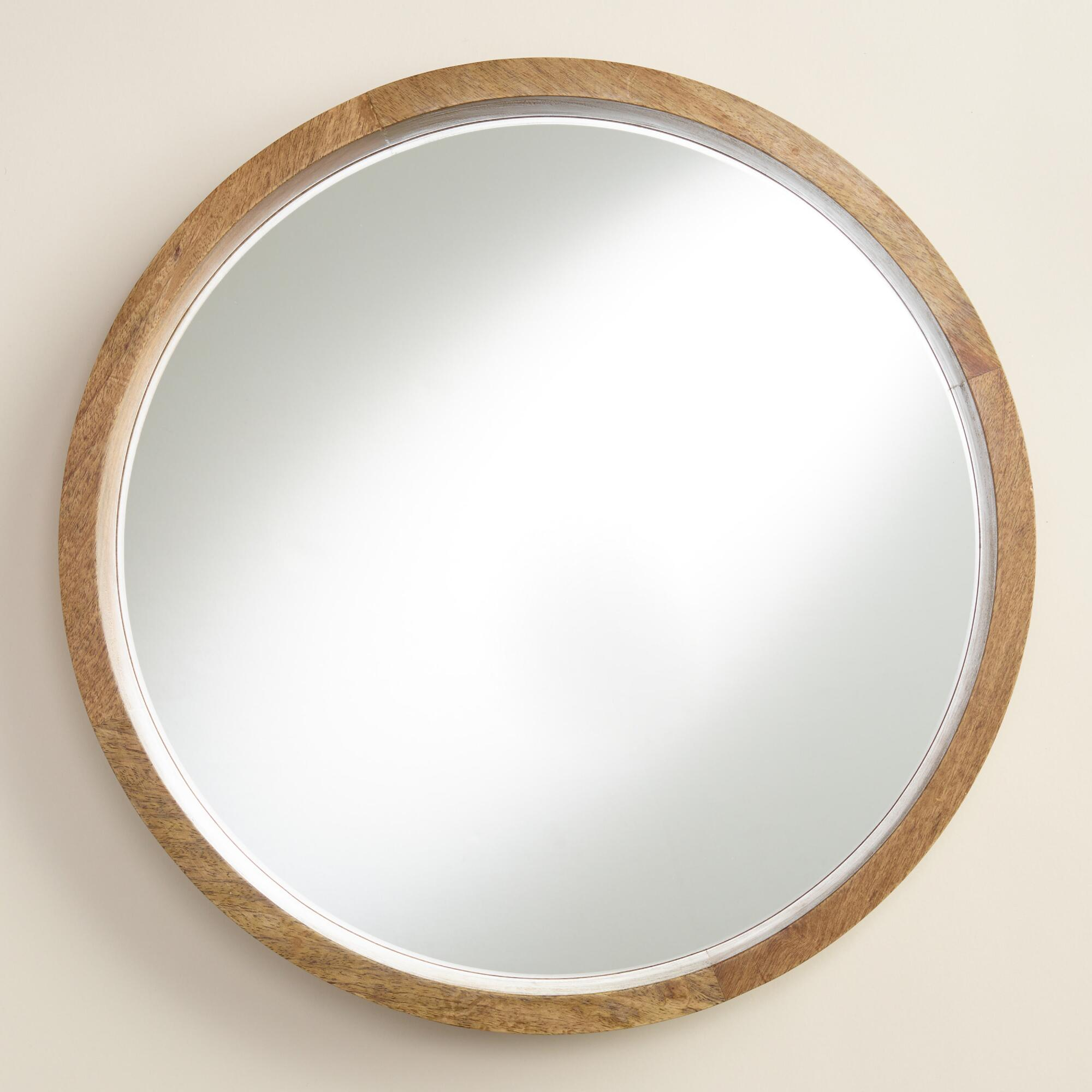 Natural wood round evan mirror world market for Round mirror