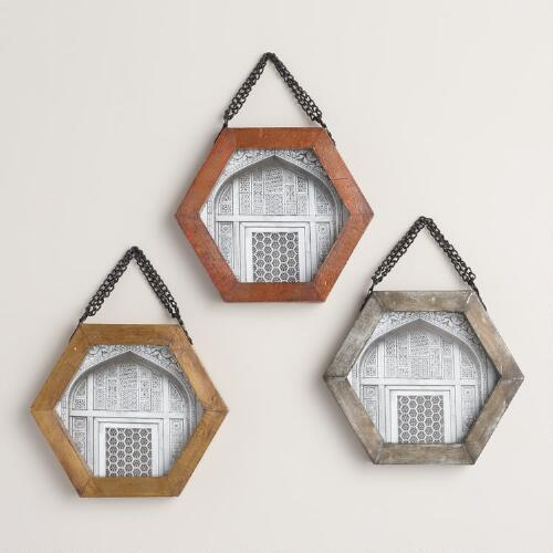 Metal Hexagon Wall Frames Set of 3