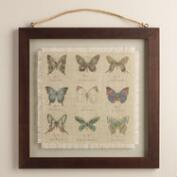 Butterfly Linen Floated Wall Art