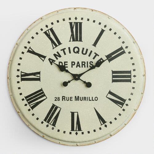 White Metal Addy Wall Clock