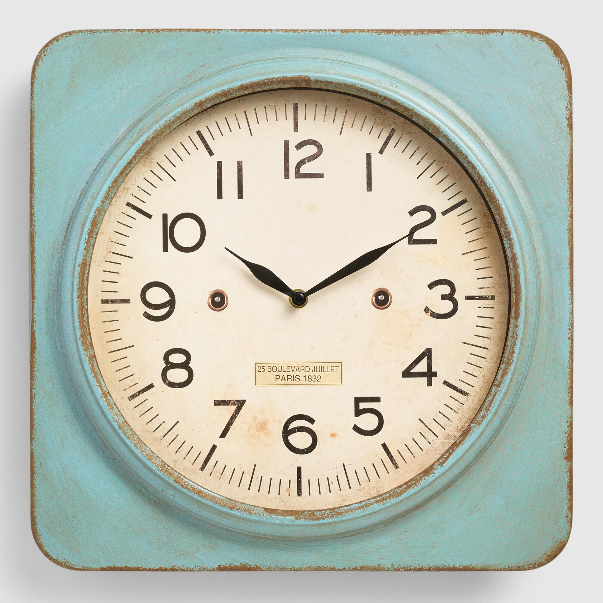 xxx vtifwidcvtjpegclocks aquametalsquarewallclock : small bathroom clock