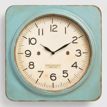 Aqua Metal Square Wall Clock
