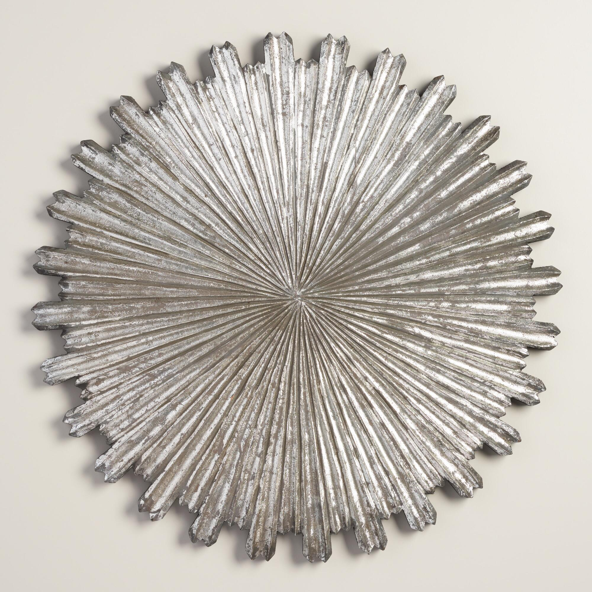 Silver metal sunburst medallion wall decor world market for Silver wall art
