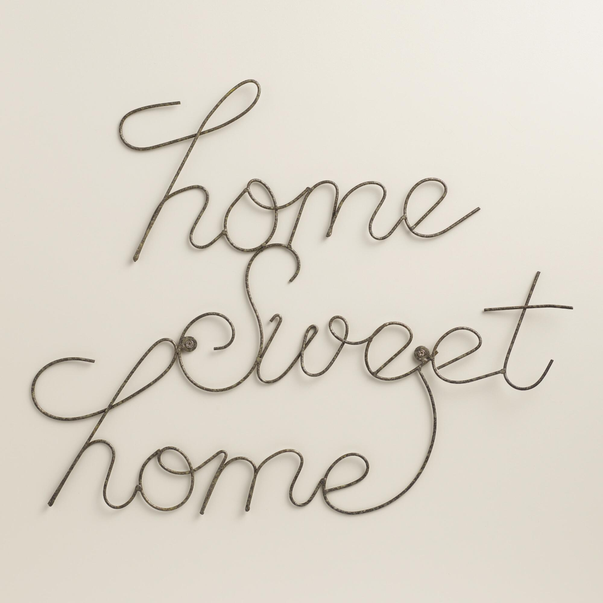Wire home sweet home wall art world market Home sweet home wall decor