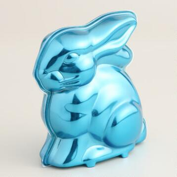 Frey Milk Chocolate Bunny in Blue Metallic Tin