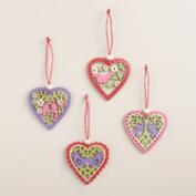 4 Piece Laser Cut Wood Valentine Hearts Set of 2 Packs