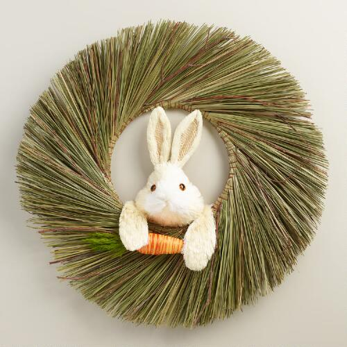 Natural Fiber Bunny  Wreath
