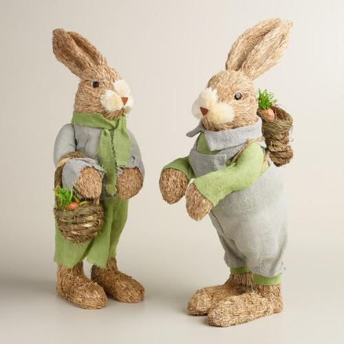 Natural Fiber Bunny Couple Set of 2
