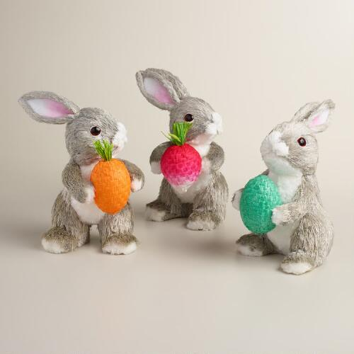 Gray and White Natural Fiber Bunnies Set of 3