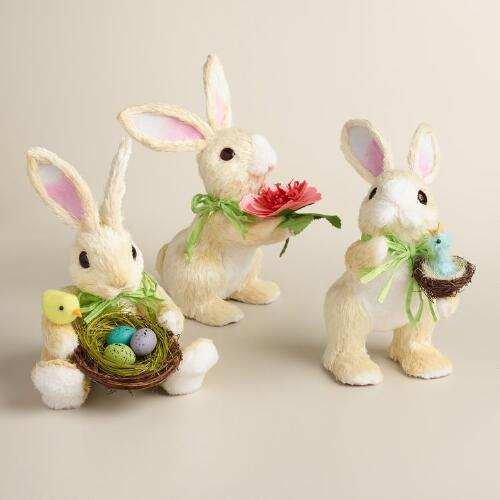 Ivory Natural Fiber Nature Bunnies Set of 3