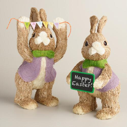 Natural Fiber Bunnies with Chalkboard and Garland Set of 2