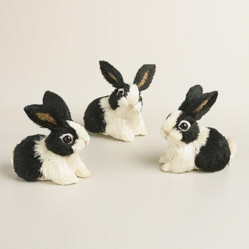 Black and White Natural Fiber Bunnies Set of 3