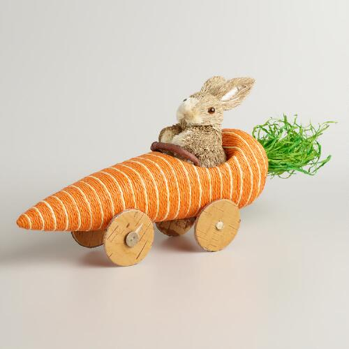 Natural Fiber  Bunny in a Carrot Car