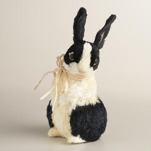 Black and White Natural Fiber Bunny