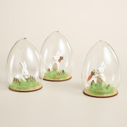 Glass Cloche Bunny Decor Set of 3