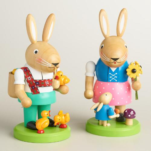 European Bunny Nutcrackers Set of 2