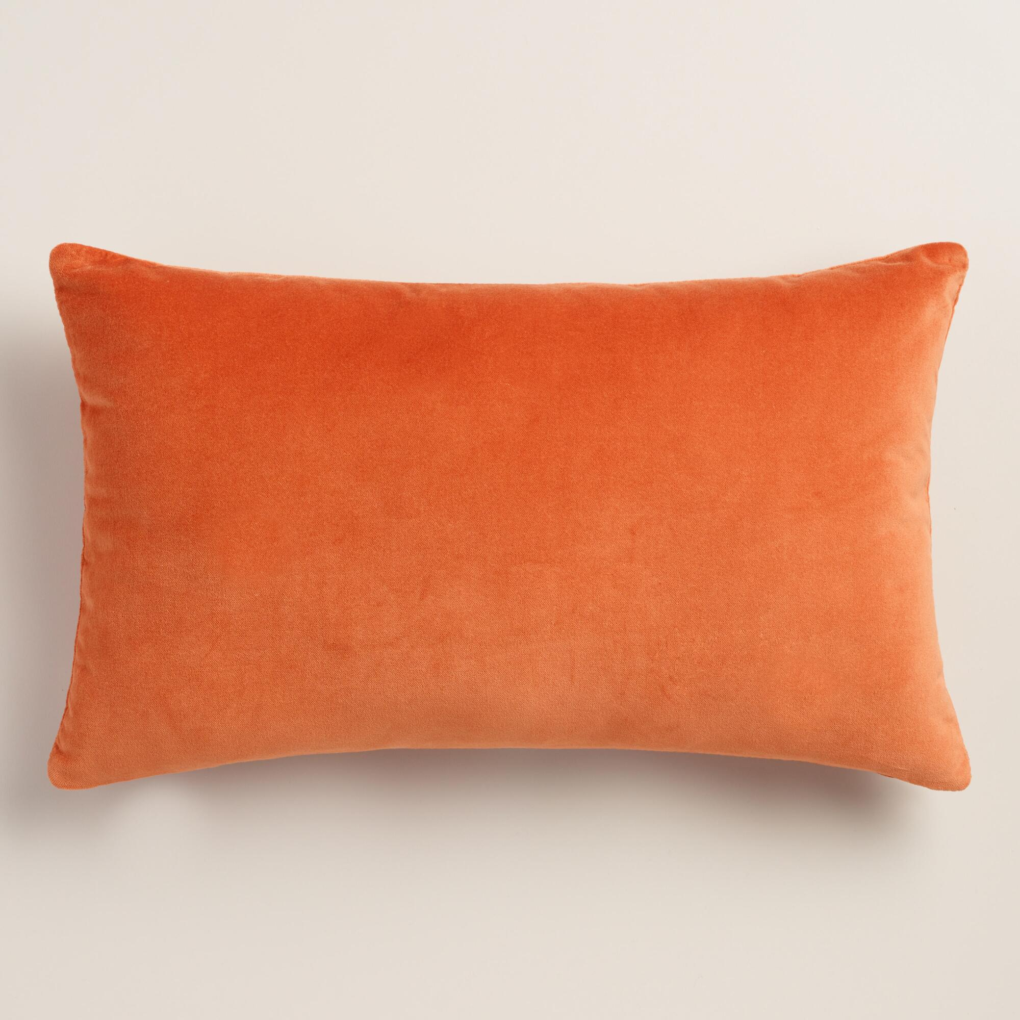 Orange Velvet Lumbar Pillow World Market