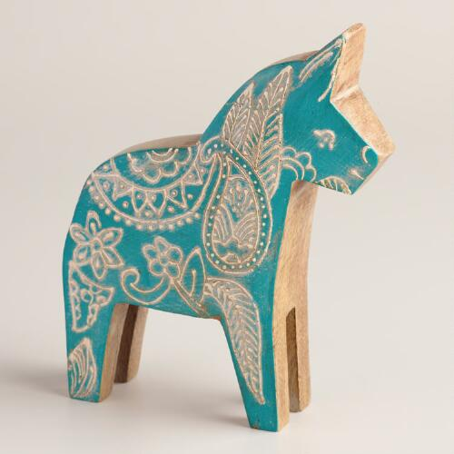 Small Painted Wood Horse Figure