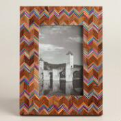 Wood Frame with Chevron Bone Inlay