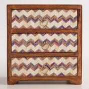 Wood 3 Drawer Box with Chevron Bone Inlay