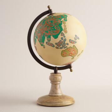 Hand Painted Globe with Wood Stand