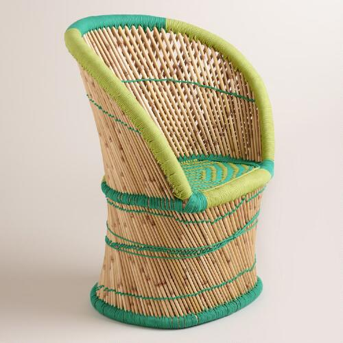 Green and Teal Woven Reed Chair