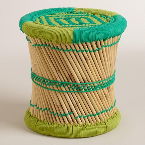Green and Teal Woven Reed Stool