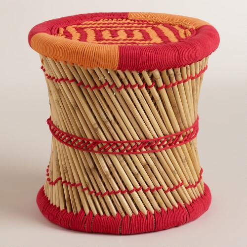 Red and Orange Woven Reed Stool
