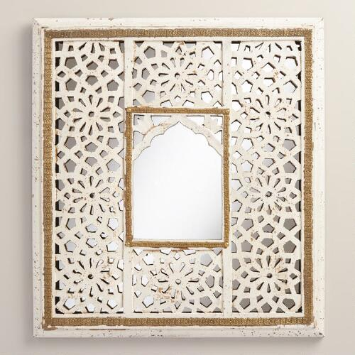 Small Carved White Mirror
