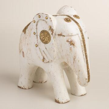 White Wood Elephant