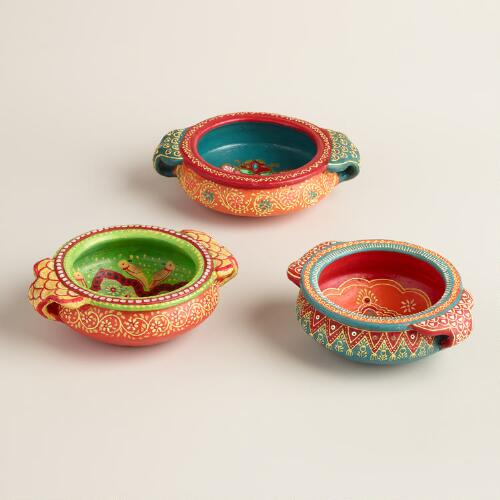 Mini Hand Painted Terracotta Urli Pots Set of 3