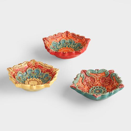Hand Painted Terracotta Urli Tidbit Dishes Set of 3