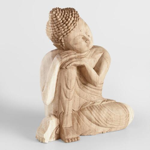 Carved Suar Wood Resting Buddha