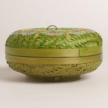 Medium Green Painted Bamboo Offering Basket